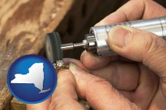 new-york map icon and repairing and polishing a ring